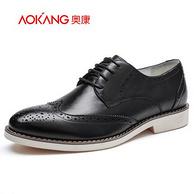 奥康 男士 布洛克 雕花皮鞋