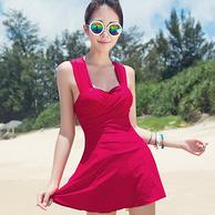 经典纯色,欧姿 新款女裙式连体钢托泳衣