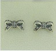 Pandora潘多拉 290555CZ 闪亮的蝴蝶结款银耳钉