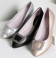 珂卡芙 浅口尖头坡跟女单鞋