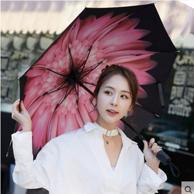 梦莎德 遮阳防晒防紫外线黑胶晴雨伞