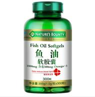 临期白菜:Nature's Bounty 自然之宝 鱼油软胶囊 1.0g/粒*300粒 券后12.9元包邮