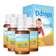 Ddrops 婴儿维生素D3滴剂 90滴/瓶 400IU *5件