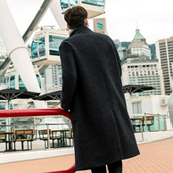 Cabbeen 卡宾 52%澳洲羊毛 男士 中长款 毛呢大衣