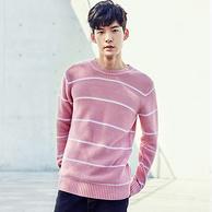 韩都衣舍旗下,AMH 男士棉质时尚条纹圆领针织衫 两色