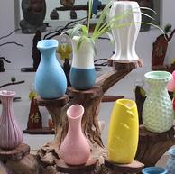 茗典 陶瓷七彩小花瓶摆件 6个装