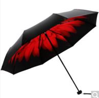 天堂伞旗舰店: 全遮光黑胶 三折晴雨伞*2件