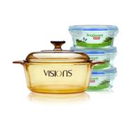 CORNING 康宁 VISIONS 晶彩 VS-22 透明汤锅 2.25L+圆形保鲜盒三件套
