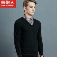 93%棉 南极人 男士 假两件 加绒加厚针织衫