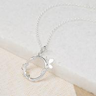 Lily charmed 925银蝴蝶戒指项链