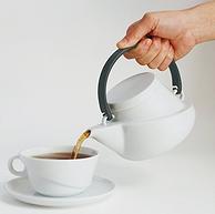 Kinto Ridge系列 白瓷茶壶 带滤网 750ML 黑色 带滤嘴 27441