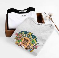 100%纯棉:雅鹿 男士宽松圆领T恤