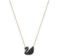 母亲节礼物!Swarovski 施华洛世奇 Iconic Swan 黑天鹅项链 玫瑰金 中码