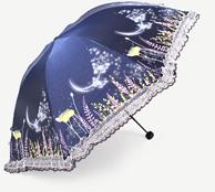 天堂伞 黑胶防晒 晴雨折叠伞