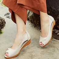 意大利专业妈妈鞋,MUSBEME 玛思贝蜜 真皮坡跟鱼嘴凉鞋