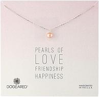 纯银+珍珠+美国手工制作!Dogeared 朵吉兒 女士纯银粉色珍珠项链