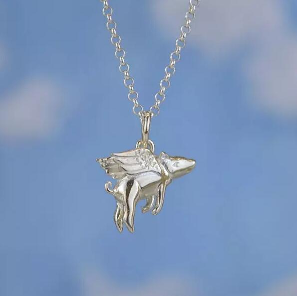英國jewel street設計獎 Lily Charmed 飛天豬純銀項鏈