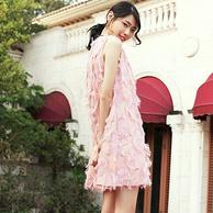 娜纪 粉色 羽毛流苏连衣裙