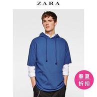 ZARA 男士 袋鼠口袋连帽短袖卫衣