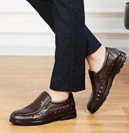 红蜻蜓 男真皮镂空一脚蹬皮鞋