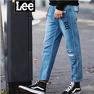 Lee男装 2018春夏新品 破洞刺绣牛仔九分裤 L29869Z027GD