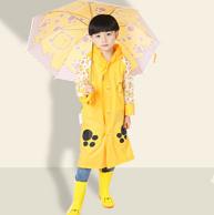充气帽檐 蓝蚂蚁 带书包位 儿童雨衣