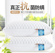 紫罗兰 防螨抗菌 全棉羽丝绒枕头 74*48cm 1对装
