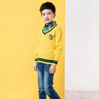 可乐凡尼 男童 假两件 针织衫