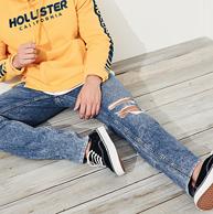 美国 Hollister 男士 紧身破洞牛仔裤