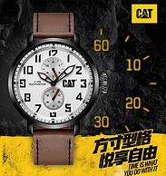 神价格!Cat 美国卡特彼勒  M04 男户外运动石英表 三表盘 真皮表带