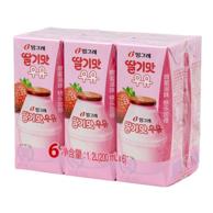韩国进口 Binggrae 宾格瑞 草莓味牛奶饮料 200ml*6盒 *2件