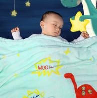 米乐鱼 婴儿加厚法兰绒盖毯 100*95cm