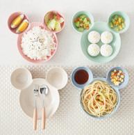 麦秸秆可爱卡通 米奇小老鼠造型儿童饭碗 颜色随机