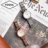 神价格!杨紫同款!化石 Fossil   Georgia系列 玫瑰金色钢表带 女D形镶钻石英表