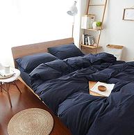 日式简欧都适宜,J.H.Longess 原棉织布全棉棉刺子四件套 床笠款 1.8米