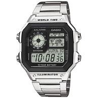 美國直郵 世界時間+不銹鋼手鏈 !Casio 卡西歐  AE1200WHD-1A 男士腕表