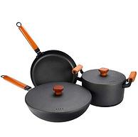 kavar 米良品 中式古法手工鑄鐵鍋 三件套