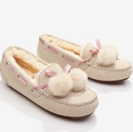 牛皮+毛绒 Justter 爵思塔 獭兔双毛球 豆豆鞋