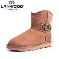 澳洲羊皮毛一体!Lanwood 冬季情侣铆钉低筒雪地靴