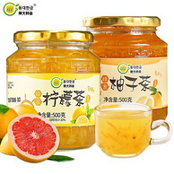 韩国黄金柚+农家蜂蜜!2瓶x500g 东大韩金蜂蜜柚子茶+柠檬茶