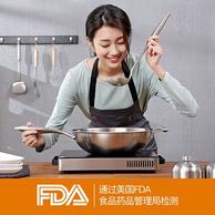 FDA认证,炊尚 304不锈钢 无涂层 不沾炒锅32cm