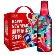 百威啤酒 新年限量版铝瓶 355mlx6瓶x2件 礼盒装