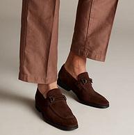 Clarks 其乐 深棕色麂皮方头低跟 男士休闲鞋