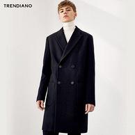 商场同款,Trendiano 男士 69% 羊毛 中长款大衣