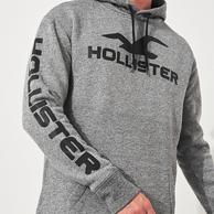 美国 Hollister 男士 Logo印花 连帽卫衣