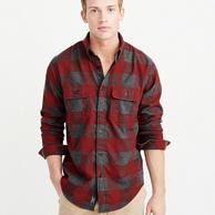 Abercrombie&Fitch 男士 法兰绒 格子衬衫