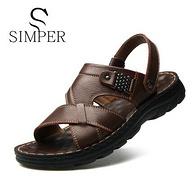 头层牛皮,Simper 圣珀 男士 真皮凉鞋 券后39元包邮(吊牌价119元)