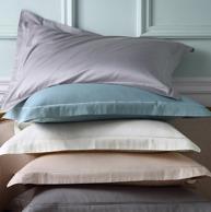 五星级酒店合作商、 60支100%纯棉:一对装 LENCIER 兰叙 贡缎纯色枕套 74x48cm