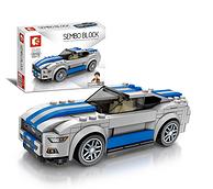 兼容乐高:森宝积木 蓝色跑车立体机械模型车模