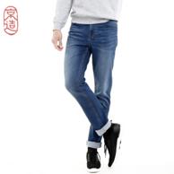 京造 中蓝色 男士 直筒牛仔裤